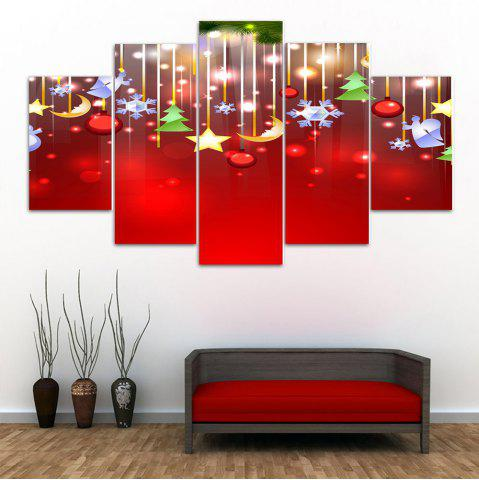 Cheap Wall Art Christmas Print Split Canvas Paintings RED 1PC:10*24,2PCS:10*16,2PCS:10*20 INCH( NO FRAME )