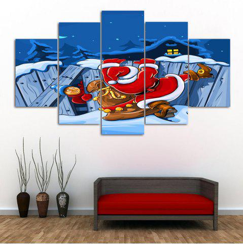 Hot Santa Claus Print Christmas Canvas Wall Art Paintings BLUE 1PC:10*24,2PCS:10*16,2PCS:10*20 INCH( NO FRAME )