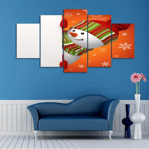 Fancy Christmas Snowman Print Wall Art Split Canvas Paintings ORANGE+WHITE 1PC:10*24,2PCS:10*16,2PCS:10*20 INCH( NO FRAME )