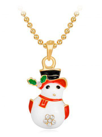 Shops Christmas Snowman Enamel Pendant Necklace WHITE