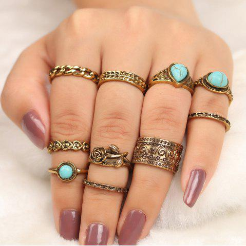 10 Pieces Turquoise Embellished Rose Vintage Rings