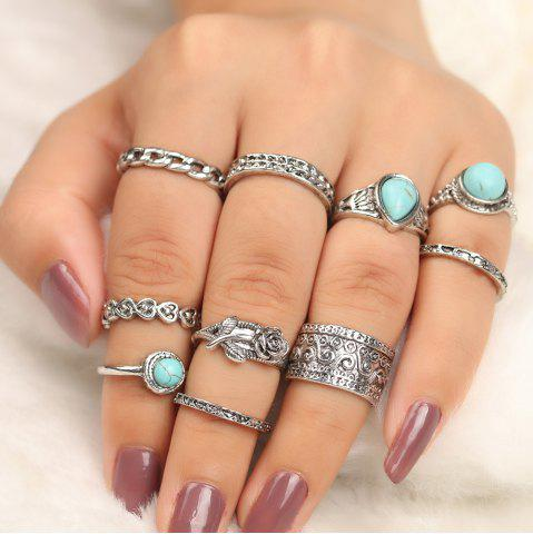 Discount 10 Pieces Turquoise Embellished Rose Vintage Rings