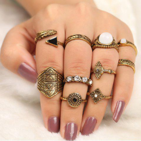 10 Pieces Faux Gem Embellished Vintage Rings Or