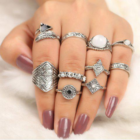 Fashion 10 Pieces Faux Gem Embellished Vintage Rings SILVER