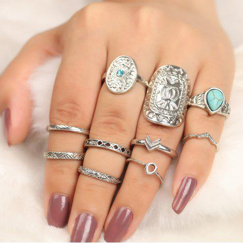 Outfit 10 Pieces Bohemia Shield Arrow Rings - SILVER  Mobile