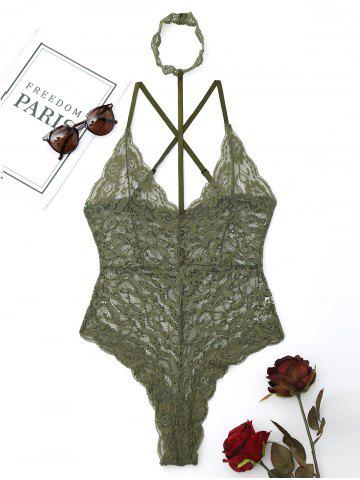 Fancy Lace Choker Criss Cross Sheer Teddy ARMY GREEN L