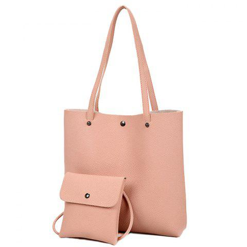 Shop 2 Pieces Rivet Shoulder Bag Set - PINK  Mobile