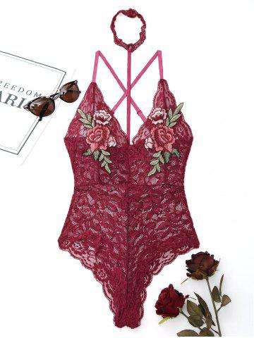 Affordable Lace Choker Flower Embroidered Teddy - L WINE RED Mobile