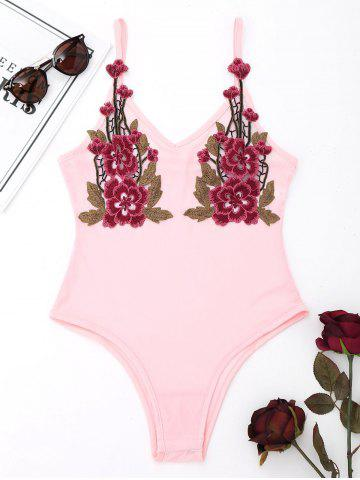 Trendy Spaghetti Strap Mesh Teddy with Embroidery PINK S