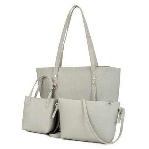 Chic 3 Pieces Faux Leather Shoulder Bag Set - LIGHT GRAY  Mobile