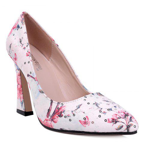 Affordable High Heel Floral Sequined Pumps RED 39