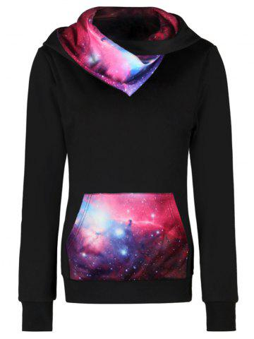 Shops Kangaroo Pocket Starry Sky Mountain Print Hoodie - M COLORMIX Mobile