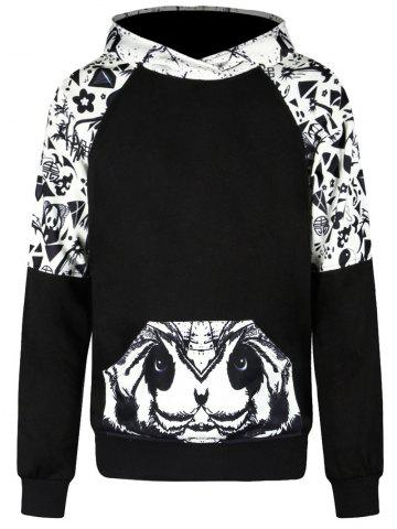 Affordable Raglan Sleeve Panda Print Kangaroo Pocket Hoodie