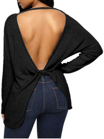 Dolman Sleeve Back Cut Out Twisted Tricots Noir S