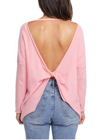 Dolman Sleeve Back Cut Out Twisted Tricots ROSE PÂLE XL