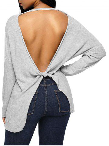 Dolman Sleeve Back Cut Out Twisted Tricots Gris L
