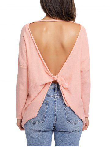 Dolman Sleeve Back Cut Out Twisted Tricots Orange Rose L