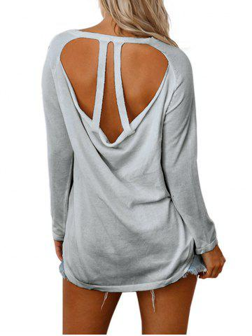 Back Cut Out Raglan Sleeve Knitwear Gris S