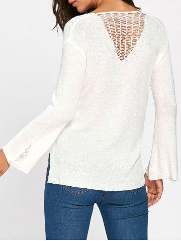 Hot Hollow Out High Low Pullover Sweater - ONE SIZE BEIGE Mobile