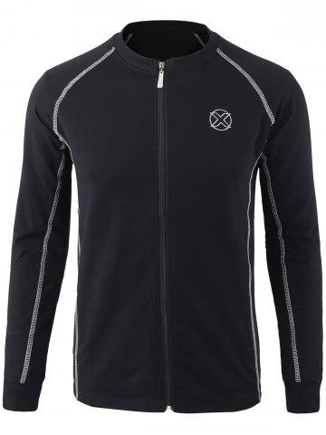 Latest Embroidered Patch Zip Up Jacket - 4XL BLACK Mobile