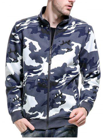 Sale Camouflage Applique Fleece Zip Up Jacket BLUE M