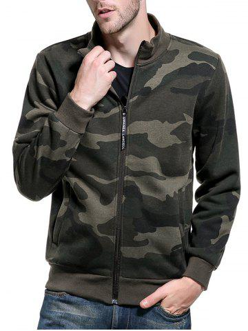 Discount Camouflage Applique Fleece Zip Up Jacket ARMY GREEN 2XL