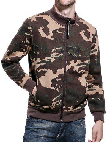 Camouflage Applique Fleece Zip Up Jacket Kaki XL