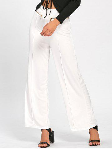 Hot Metallic Zip Wide Leg High Waisted Pants - M WHITE Mobile