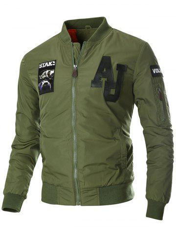 Online Patch Design Zip Up Bomber Jacket - 3XL ARMY GREEN Mobile