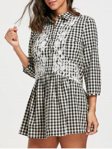 Latest Drop Waist Floral Embroidered Plaid Shirt Dress - M CHECKED Mobile