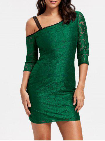 Outfits Floral Lace Skew Neck Mini Dress - S GREEN Mobile