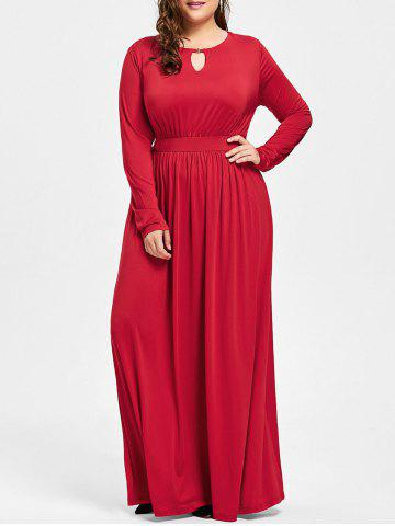 Trendy Keyhole Maxi Plus Size Dress - 2XL RED Mobile