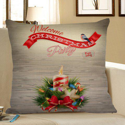 New Christmas Candle Pattern Linen Pillow Case