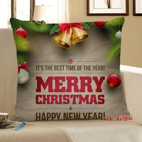 Shop Christmas Bell and Letters Printed Square Pillow Case