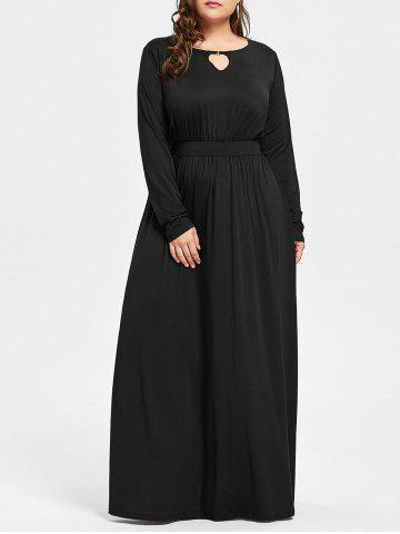 Affordable Keyhole Maxi Plus Size Dress - 3XL BLACK Mobile