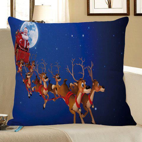 Discount Christmas Carriage Elk Printed Linen Pillow Case BLUE W18 INCH * L18 INCH