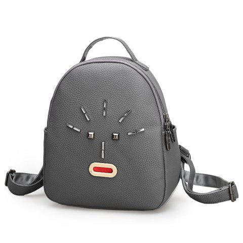 Online Metal Stud PU Leather Backpack - GRAY  Mobile