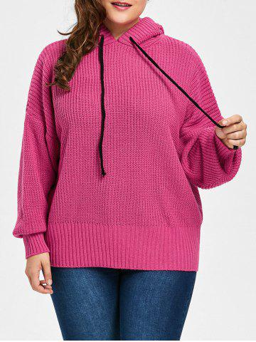 Outfits Plus Size Drop Shoulder Hooded Sweater - ONE SIZE ROSE RED Mobile