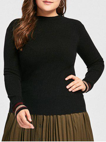 Cheap Plus Size Striped High Neck Sweater - 5XL BLACK Mobile