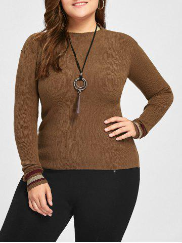 Chic Plus Size Striped High Neck Sweater - 5XL COFFEE Mobile