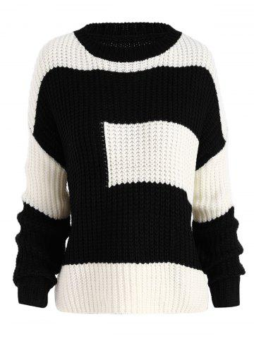 Outfit Plus Size Color Block Chunky Knitted Boyfriend Sweater