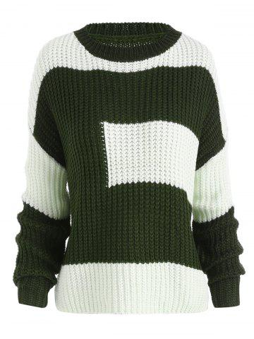 Fancy Plus Size Color Block Chunky Knitted Boyfriend Sweater BLACKISH GREEN ONE SIZE