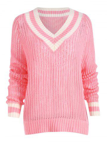Chomky Knit High Low Plus Size Tennis Sweater ROSE PÂLE 2XL