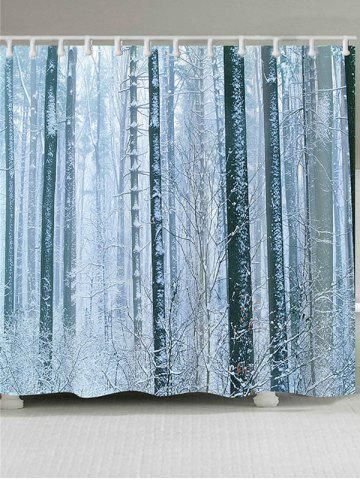 Hot Snowy Forest Printed Bath Shower Curtain - W65 INCH * L71 INCH GRAY Mobile