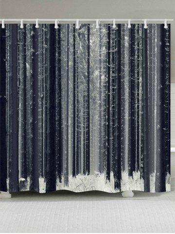Trendy Forest Snow Printed Bath Shower Curtain