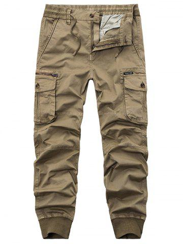 Fashion Flap Pockets Zip Fly Beam Feet Cargo Pants KHAKI 32