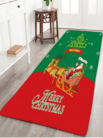 Shops Christmas Sled Flannel Antiskid Thin Bath Mat RED AND GREEN W16 INCH * L47 INCH