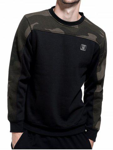 Outfit Camouflage Panel Fleece Pullover Sweatshirt