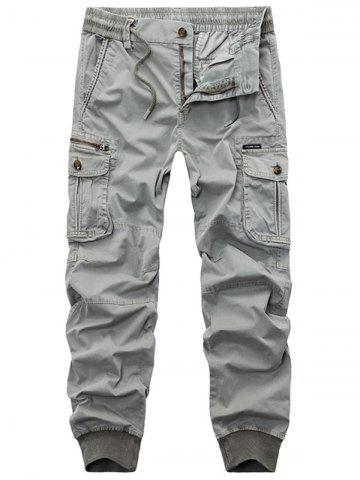 Trendy Flap Pockets Zip Fly Beam Feet Cargo Pants LIGHT GRAY 34