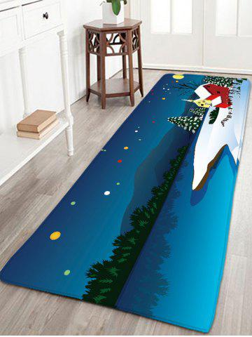 Hot Antiskid Flannel Thin Christmas Snow Night Rug BLUE W16 INCH * L47 INCH